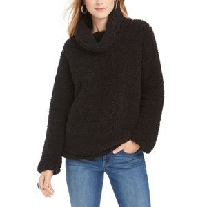 Style & Co Cowl Neck Faux Sherpa Sweater 2X Black